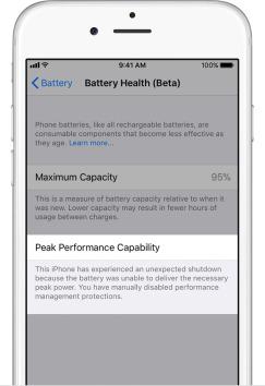 iphone ios 11 3 healthy battery maximum capacity speed throttle 5 - كيف تعطل خاصية إبطاء آيفون في نظام iOS 11.3؟
