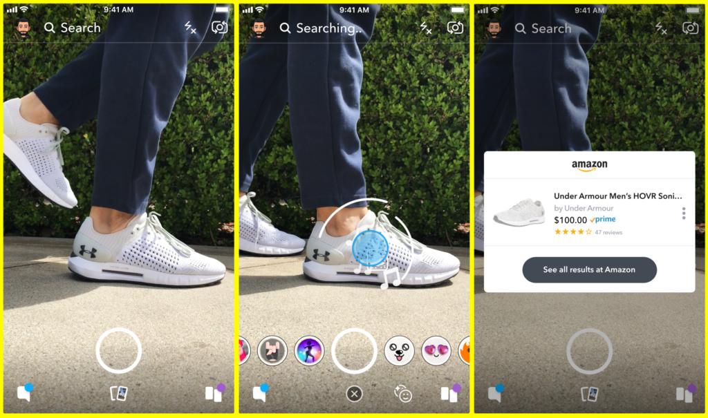 amazon visual search 1024x605 - سناب شات تطلق ميزة جديدة خاصة بالبحث عن منتجات أمازون باستخدام كاميرتها