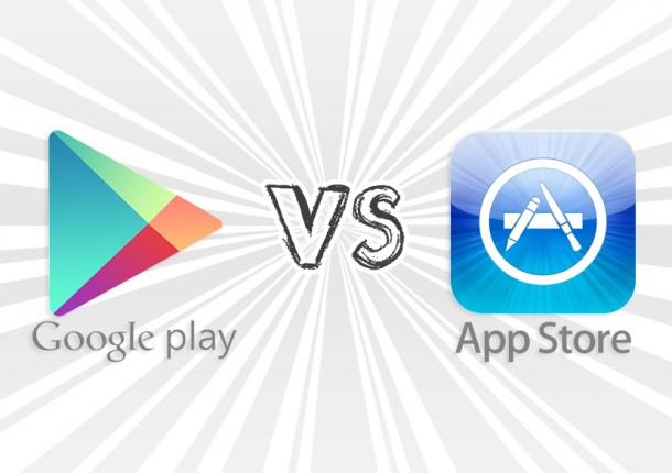 google play vs appstore 610x430 - على الرغم من النمو الكبير في إيرادات الاخير إلا أن آب ستور لا يزال أعلى من جوجل بلاي